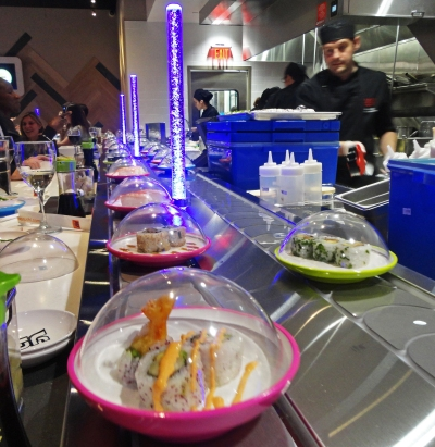 The Yo! Sushi delivery system!
